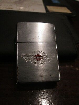 Used 2 SIDED AD ZIPPO LIGHTER -- Snap On Tools and 95 Harley Davidson 1903-1998