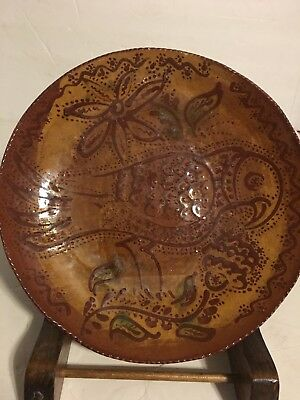 early 1976 Ned C. N. Foltz red ware Redware Pottery Bird Flower plate