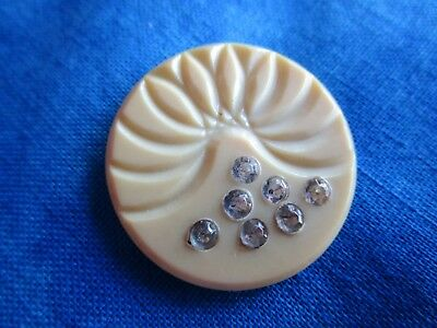 """6148 – Lovely Celluloid Vintage Button with 7 Jewels OME, 1-1/16"""""""