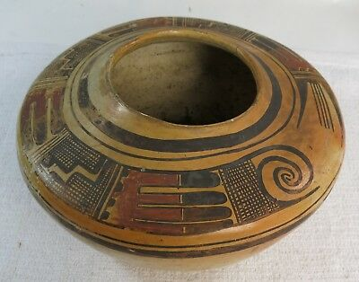 Stunning Antique Hopi Native American Hand Painted Polychrome Vase Signed