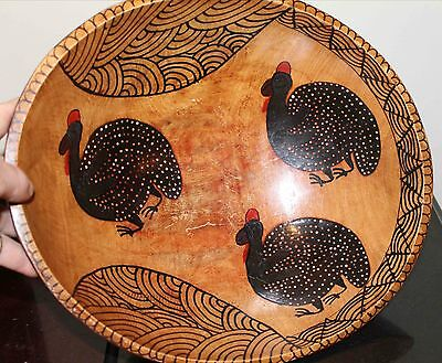 African Carved Wooden Bowl Hand Painted with Guinea Hens