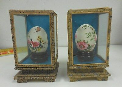 (2) Asian Chinese Hand Painted Egg in Glass Box Butterfly Birds Flowers