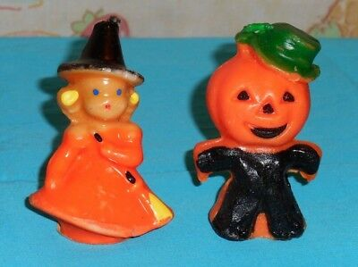 vintage Halloween GURLEY CANDLE LOT OF 2 little orange witch & scarecrow
