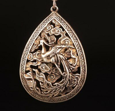 Old Tibetan Silver Carving Phoenix Bird Hollow-Out Statue Necklace Pendant