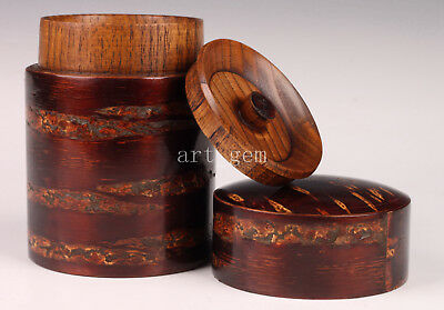 Japanese Handmade Cherry Bark Tea Caddy Box Wood Set Old Seal