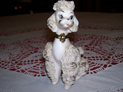 """Vintage Napco Pink porcelain spaghetti poodle 4 1/2"""" tall hand paint blue eyes"""