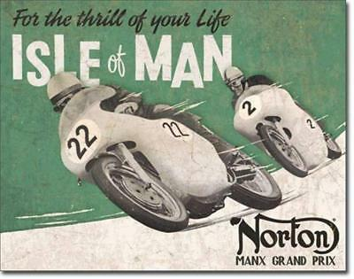 Norton Motorcycles Isle of Man Manx Grand Prix Rustic Nostalgic Tin Metal Sign