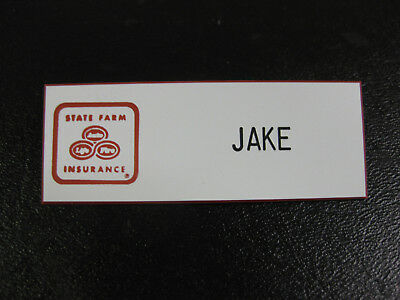 JAKE from STATE FARM Insurance HALLOWEEN Name tag COSTUME Badge! White!