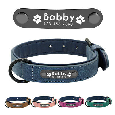 Soft Leather Personalized Dog Collar Large X-large Dog Name ID Brown Blue Pink