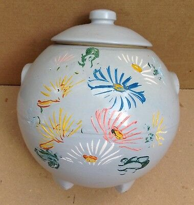 vintage Ransburg Cookie Jar Hand  Painted Stoneware Pottery Tan with Flower