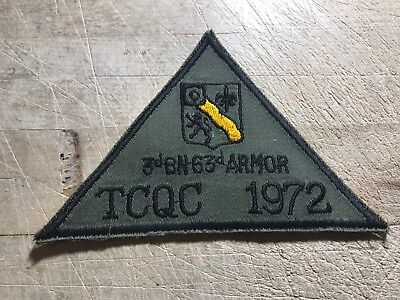 1972/Vietnam? US ARMY PATCH-3rd BN 63rd Armor TCQC 1972 ORIGINAL BEAUTY!