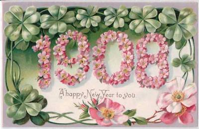 Tucks Postcard Happy New Year To You 1908 Embossed Clovers Flowers - E15