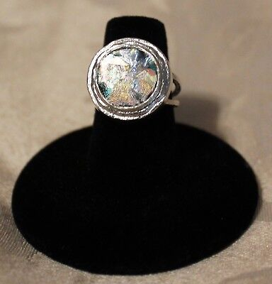 Textured Edge Ancient Roman Glass Ring 925 Sterling Silver Circular Round Stone