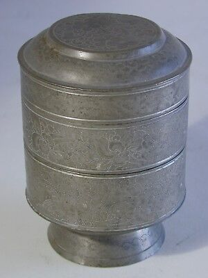 19th C. Qing Dynasty Engraved Pewter Stacking Boxes + Cover w/ Flowers and Birds