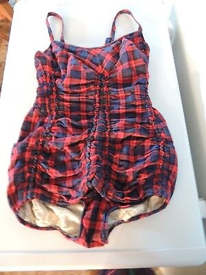 Vintage 1950's JANTZEN Red Plaid Gathered Swim Suit Button Down Straps sz 16