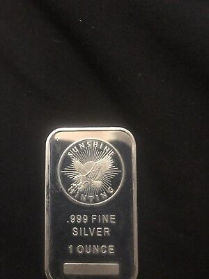 1 OZ. Silver Bullion Bar Sunshine Minting .999 Fine Silver One Troy Ounce Eagle