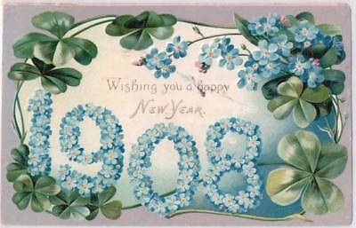 Tucks Postcard Four Leaf Clover Embossed Flowers 1908 Happy New Year - E15