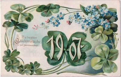 Tucks Postcard 1907 Happy New Year Four Leaf Clover Embossed Flowers - E15
