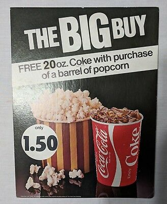 "Vintage 1980s Coca-Cola Coke Popcorn Movie Theater Advertising Sign ""Big Buy"""