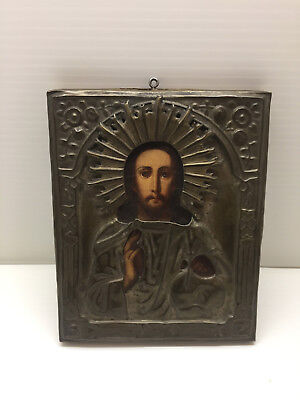 Antique Russian Orthodox Icon Christ The Pantocrato Mid To Late 19th Century