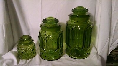 Moon And Star Green Canister Set Of 3 L.E. Smith, large, medium, small w/lids