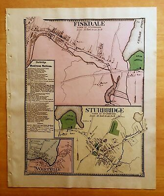 Original Antique 1870 Map FISKDALE Sturbridge WESTVILLE, MA Massachusetts BEERS