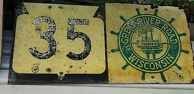 Vintage 1960's? Road Sign GREAT RIVER ROAD Wisconsin authentic