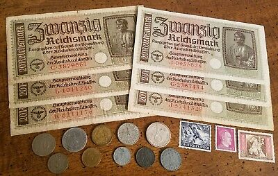 WW2 GERMAN SILVER & RARE BANKNOTES/COINS  - 20pc LOT - Vintage WWII Collection!