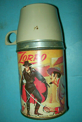Vintage 1958 Zorro Thermos by Aladdin   Free Shipping