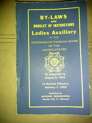 Vintage 1952 By-Laws of the Ladies Auxiliary to Veterans of Foreign Wars