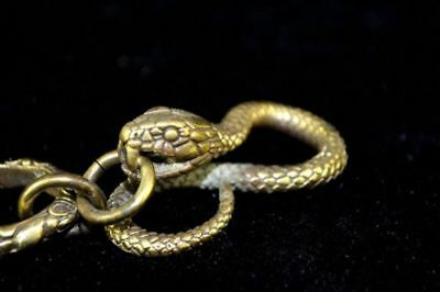 chinese rare Collectible Big Old Copper Handwork viper Snake key chain pendant