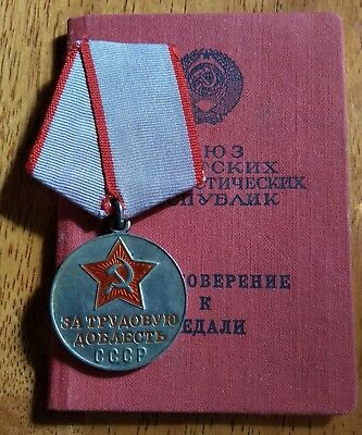 Authentic Soviet SILVER Medal For Labor Valor Document Uncut Ring Russia USSR
