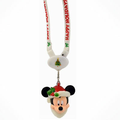 Disney Parks Light-Up Christmas Santa Mickey Mouse Holidays Lanyard Necklace NWT