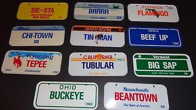 Vintage 80's  Wheaties Cereal Miniature  State Metal License Plates lot of 11