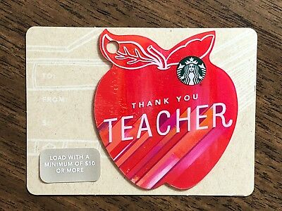 "Starbucks Gift Card 2016 Apple Die Cut ""Thank You Teacher"" Holiday No $ Value"