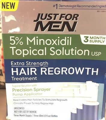 Just For Men 5% Minoxidil Hair Regrowth Treatment  3 Month EXP 10/19