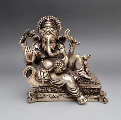 Chinese old Handwork Silver Copper nose elephant Buddha & Mouse statue