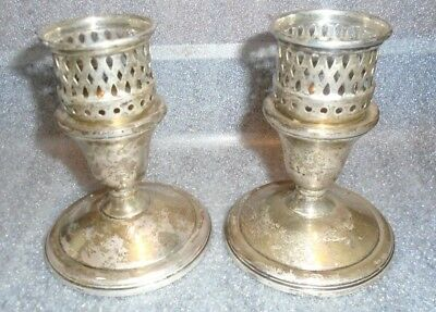 fine old pair La Pierre sterling  silver single candle stick