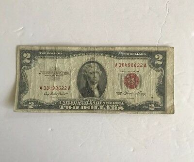 Rare Vintage $2 1953 United States Note Two Dollar Bill Jefferson Red Seal VNC