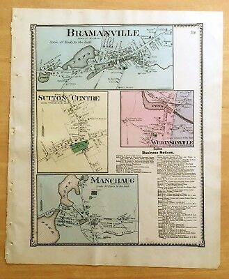 Original 1870 Map BRAMANVILLE Manchaug SUTTON CENTRE, MA Massachusetts BEERS