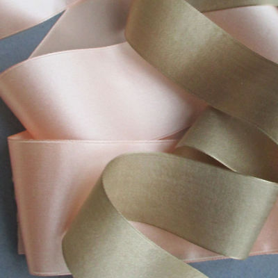 "2 Bolts Antique Soft PINK + Coffee SILK Satin RIBBON 2""W X 5+ Yds w Paper Lining"