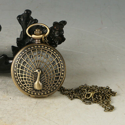 European Exquisite Classical Copper Carved Peacock Pocket Watch LB36+d