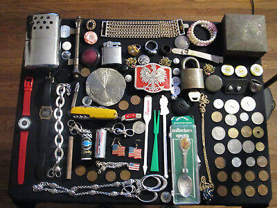 Junk Drawer Lot estate sale old coins watches vtg sterling ring thai old box