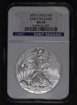2007 W Burnished MS 69 Early Release Silver Eagle NGC