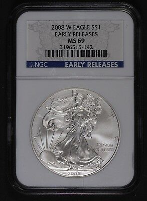2008 W Burnished MS 69 Early Release Silver Eagle NGC
