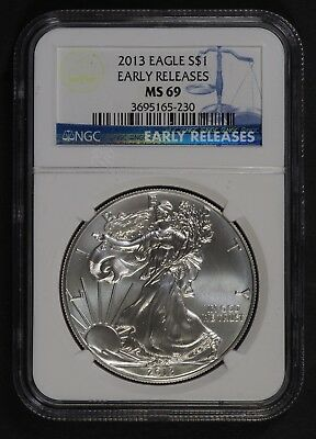 2013 W Burnished MS 69 Early Release Silver Eagle NGC
