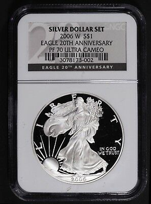 2006 W Proof 70 20th Anniversary Silver Eagle Black Label NGC
