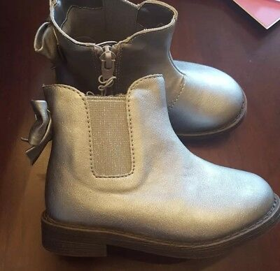 NEW Cat & Jack Girls Tony Bow Ankle Boot Silver Size 7