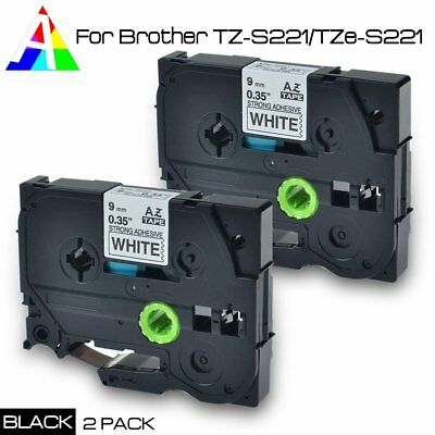 2PK For Brother P-Touch PT-1000 1010B TZe221 TZ221 Label tape Black on White 9mm