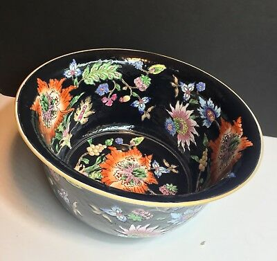 Chinese Antique Bowl - Rare Large Early 20th Century Famille Noire Bowl